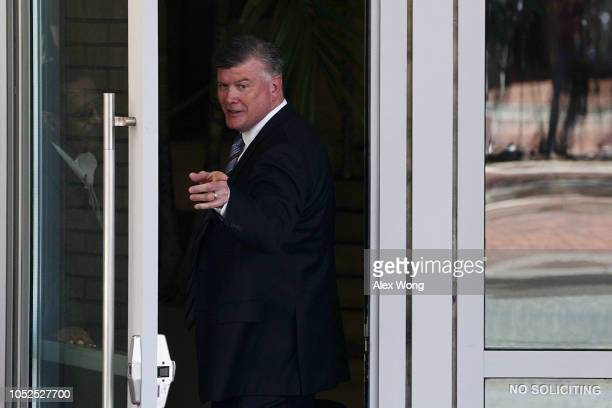 Kevin Downing attorney for former Trump campaign chairman Paul Manafort enters a hotel across from the US District Court house October 19 2018 in...