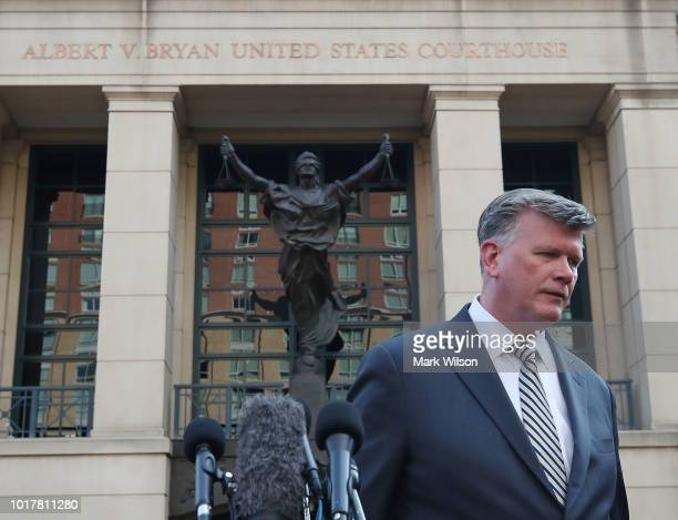 Kevin Downing attorney for former Trump campaign manager Paul Manafort speaks to the media after leaving walking out of the Albert V Bryan United...