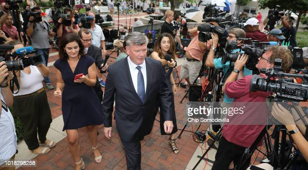 Kevin Downing lead attorney for former Trump campaign chairman Paul Manafort is pursued by reporters as he walks back to the Albert V Bryan US...