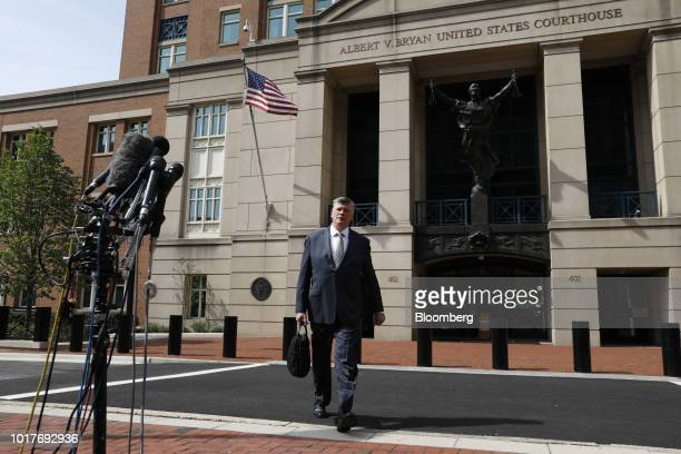 Kevin Downing lead lawyer for former Donald Trump Campaign Manager Paul Manafort exits District Court in Alexandria Virginia US on Thursday Aug 16...
