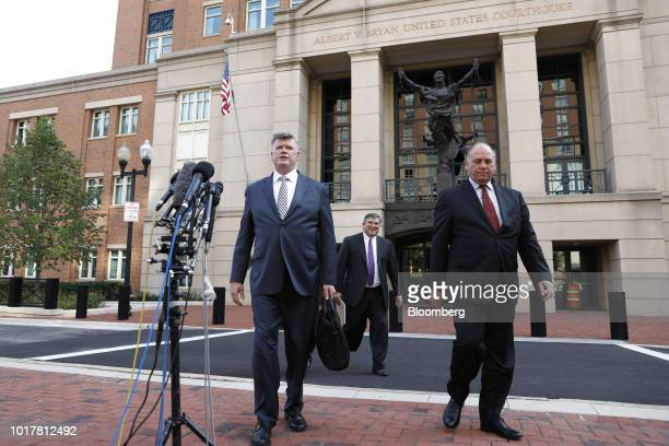 Kevin Downing lead lawyer for former Donald Trump Campaign Manager Paul Manafort from left arrives to speak to members of the media with Richard...