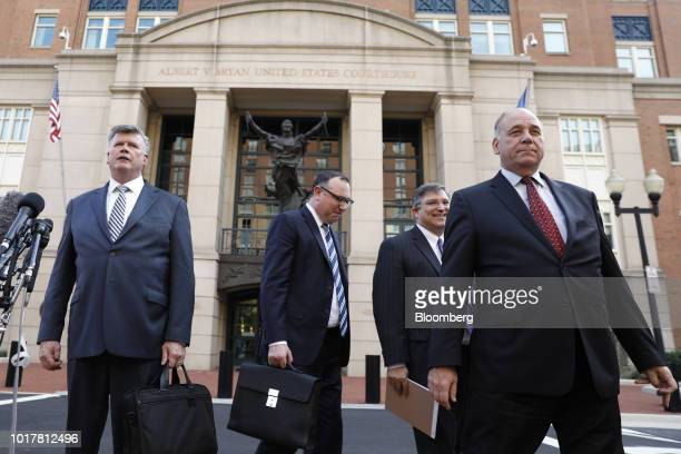 Kevin Downing lead lawyer for former Donald Trump Campaign Manager Paul Manafort from left speaks to members of the media as Brian Ketcham lawyer for...