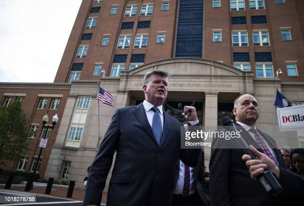 Kevin Downing lead lawyer for former Donald Trump Campaign Manager Paul Manafort speaks to members of the media as Thomas Zehnle cocounsel for...