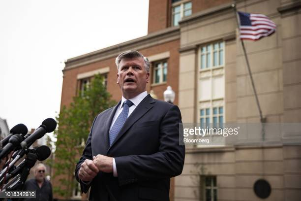 Kevin Downing lead lawyer for former Donald Trump Campaign Manager Paul Manafort speaks to members of the media outside District Court in Alexandria...