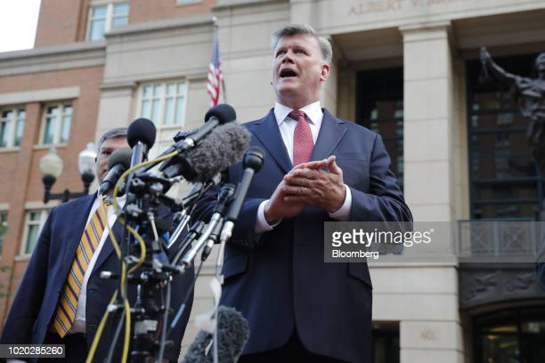Kevin Downing lead lawyer for former Donald Trump Campaign Manager Paul Manafort center speaks to members of the media while arriving to District...