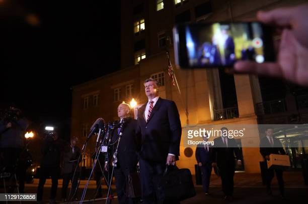 Kevin Downing lead lawyer for former Donald Trump Campaign Manager Paul Manafort center speaks at the US District Court in Alexandria Virginia US on...