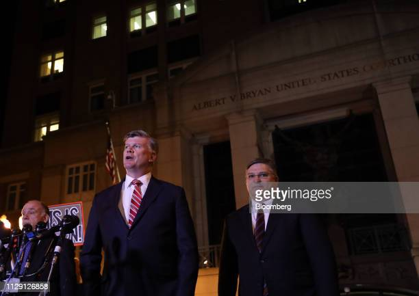 Kevin Downing lead lawyer for former Donald Trump Campaign Manager Paul Manafort second left speaks as Richard Westling cocounsel for Manafort looks...