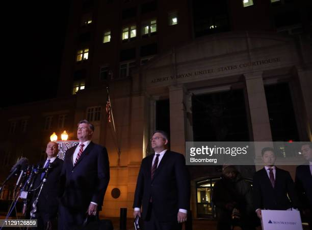 Kevin Downing lead lawyer for former Donald Trump Campaign Manager Paul Manafort second left speaks at the US District Court in Alexandria Virginia...