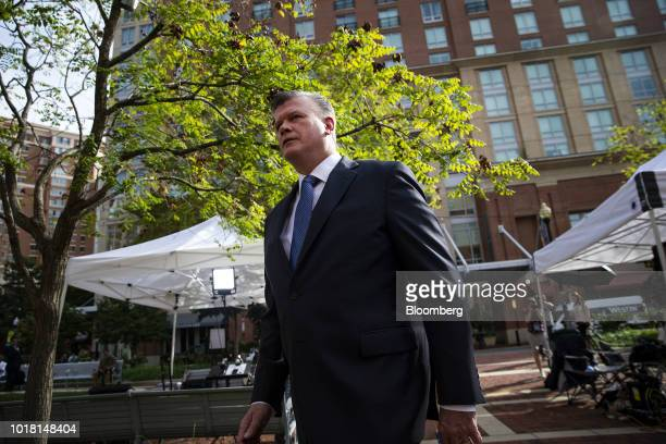 Kevin Downing lead lawyer for former Trump Campaign Manager Paul Manafort arrives at at District Court in Alexandria Virginia US on Friday Aug 17...