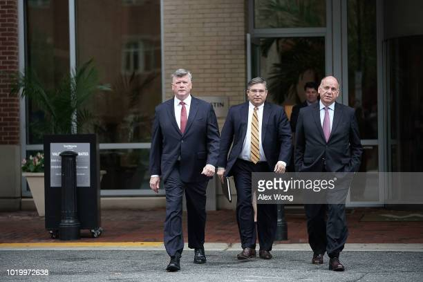 Jay Nanavati and Brian Ketcham attorneys for former Trump campaign chair Paul Manafort leave the Albert V Bryan US Courthouse during the third day of...