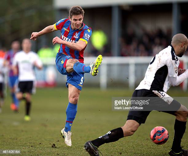Kevin Doyle of Palace shoots during the FA Cup Third Round match between Dover Athletic and Crystal Palace at the Crabble Stadium on January 04 2015...