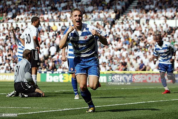Kevin Doyle of Reading celebrates scoring the second goal of the game during the Barclays Premier League match betweeen Derby County and Reading at...