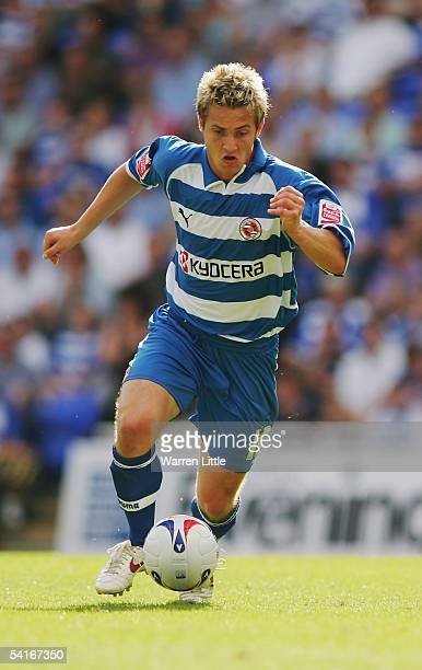 Kevin Doyle of Reading in action during the CocaCola Championship match between Reading and Burnley at the Madejski Stadium on August 29 2005 in...