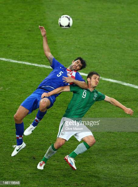 Kevin Doyle of Republic of Ireland and Vedran Corluka of Croatia battle for the ball during the UEFA EURO 2012 group C between Ireland and Croatia at...