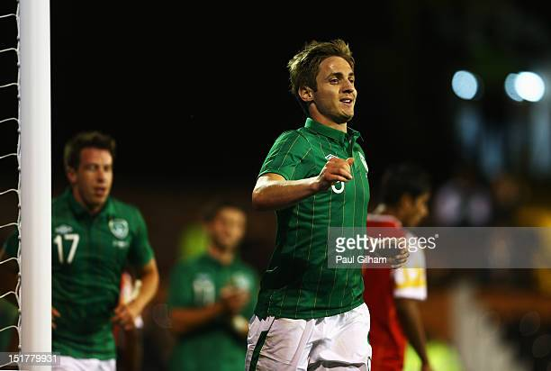 Kevin Doyle of Republic of Ireland celebrates scoring the third goal for Ireland during the International Friendly match between Republic of Ireland...