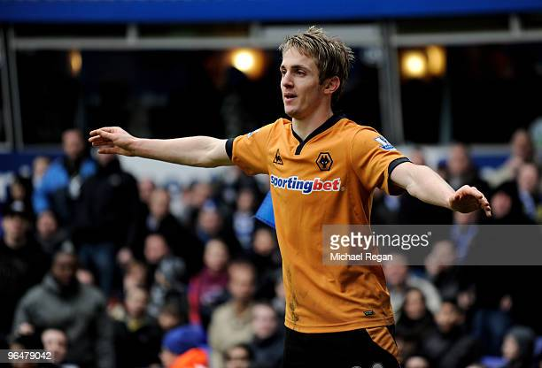 Kevin Doyle of Wolverhampton celebrates scoring the first goal during the Barclays Premier League match between Birmingham City and Wolverhampton...