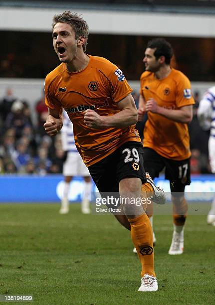 Kevin Doyle of Wolverhampton Wanderers celebrates scoring his side's second goal during the Barclays Premier League match between Queens Park Rangers...