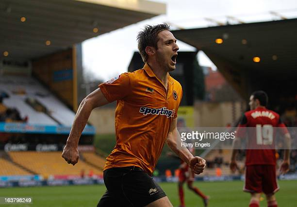 Kevin Doyle of Wolves celebrates scoring his team's second goal during the npower Championship match between Wolverhampton Wanderers and Bristol City...