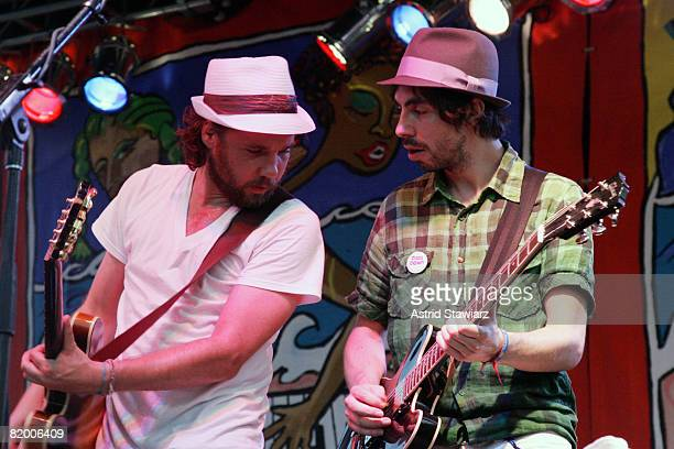 Kevin Drew and Broken Social Scene music collective perform at the Village Voice Siren Music Festival on July 19 2008 in Coney Island New York