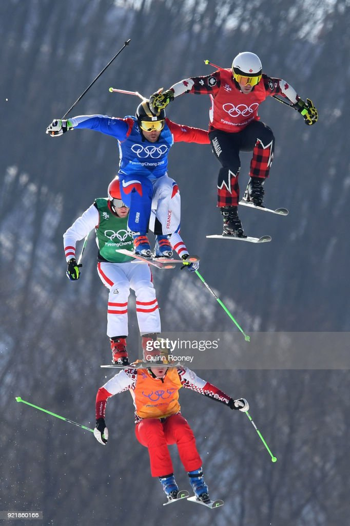 Kevin Drury of Canada, Arnaud Bovolenta of France, Semem Denishchikov of Olympic athletes of Russia and Robert Winkler of Austria compete in the Freestyle Skiing Men's Ski Cross Quarterfinals on day 12 of the PyeongChang 2018 Winter Olympic Games at Phoenix Snow Park on February 21, 2018 in Pyeongchang-gun, South Korea.
