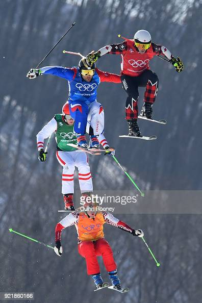 Kevin Drury of Canada Arnaud Bovolenta of France Semem Denishchikov of Olympic athletes of Russia and Robert Winkler of Austria compete in the...