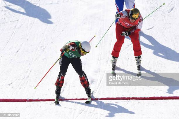 Kevin Drury of Canada crosses the line in the Freestyle Skiing Men's Ski Cross Semifinals on day 12 of the PyeongChang 2018 Winter Olympic Games at...
