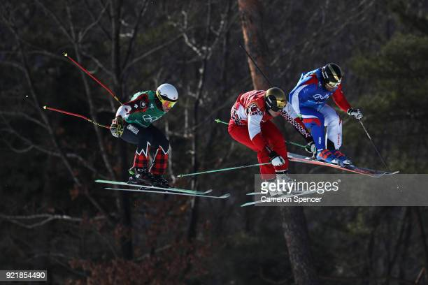 Kevin Drury of Canada Dave Duncan of Canada Arnaud Bovolenta of France and Sergey Ridzik of Olympic athlertes of Russia compete in the Freestyle...
