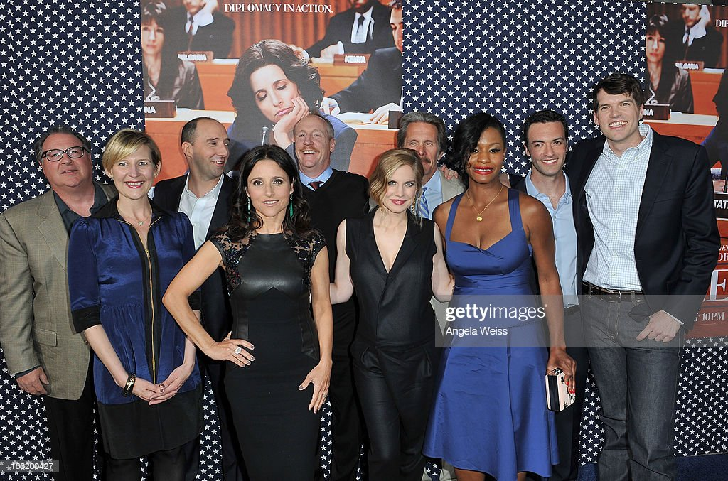 Kevin Dunn, Sue Naegle, Tony Hale, Julia Louis-Dreyfuss, Matt Walsh Anna Chlumsky, Gray Cole, Sufe Bradshaw, Reid Scott and Tomothy Simons attend the Los Angeles premiere for the second season of HBO's series 'Veep' at Paramount Studios on April 9, 2013 in Hollywood, California.