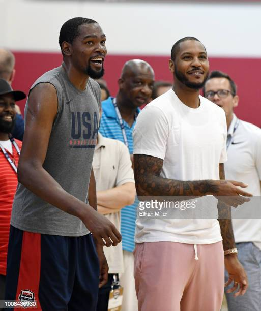 Kevin Durant of the United States and Carmelo Anthony attend a practice session at the 2018 USA Basketball Men's National Team minicamp at the...