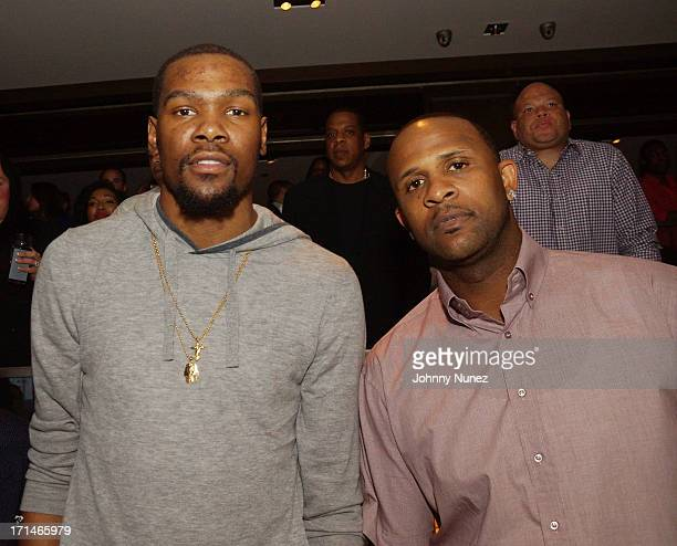 Kevin Durant and CC Sabathia attend The Super Heroes Fundraiser And Domino Tournament at The 40/40 Club on June 24 2013 in New York City