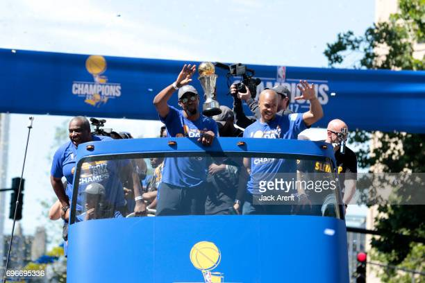 Kevin Durant and David West of the Golden State Warriors celebrates winning the 2017 NBA Championship during a parade on June 15 2017 in Oakland CA...