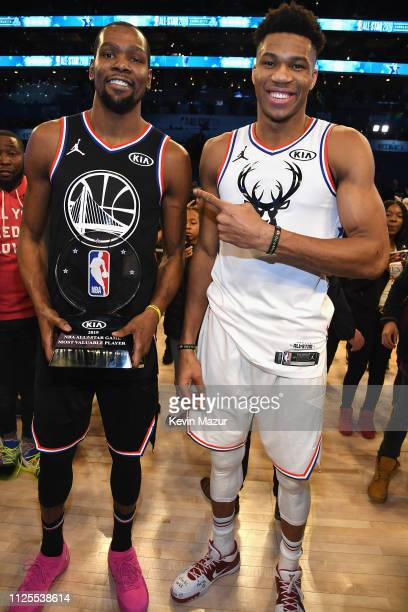 Kevin Durant and Giannis Antetokounmpo pose on the court after the 68th NBA AllStar Game at Spectrum Center on February 17 2019 in Charlotte North...