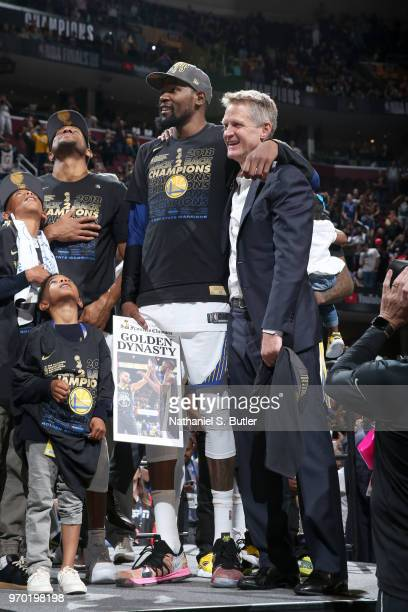 Kevin Durant and head coach Steve Kerr of the Golden State Warriors after Game Four of the 2018 NBA Finals against the Cleveland Cavaliers on June 8...