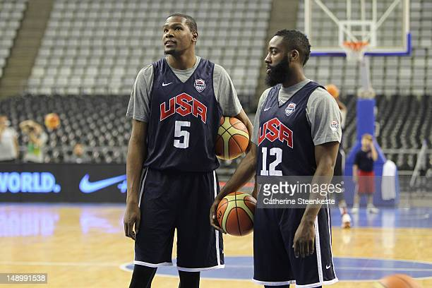 Kevin Durant and James Harden of the US Men's Senior National team are practicing at Palau Sant Jordi II arena in Barcelona, Spain on July 21, 2012....