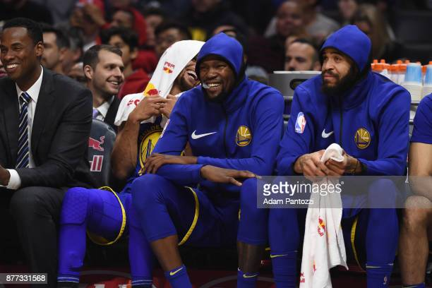 Kevin Durant and JaVale McGee of the Golden State Warriors looks on during the game against the LA Clippers on October 30 2017 at STAPLES Center in...