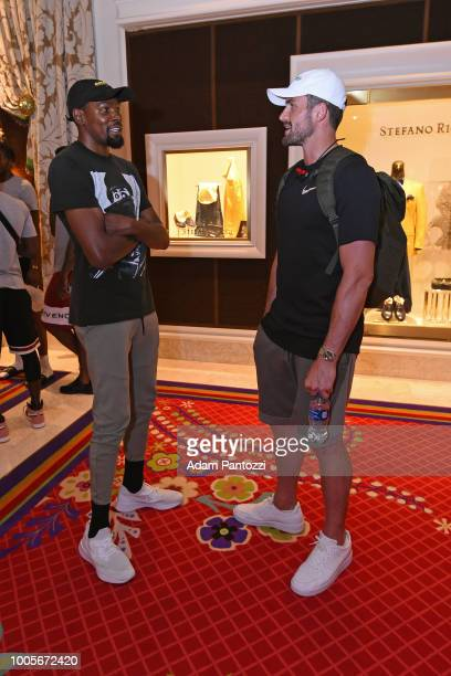 Kevin Durant and Kevin Love talk after a team meeting at USAB Minicamp in Las Vegas Nevada at the Wynn Las Vegas on July 25 2018 NOTE TO USER User...