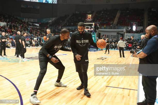 Kevin Durant and Kyrie Irving of Team LeBron play during the 2019 NBA AllStar Practice and Media Availability on February 16 2019 at Bojangles...