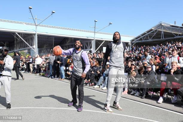 Kevin Durant and Kyrie Irving of the Brooklyn Nets are seen during Practice in the Park on October 5 2019 at Brooklyn Bridge park Pier 2 Brooklyn New...