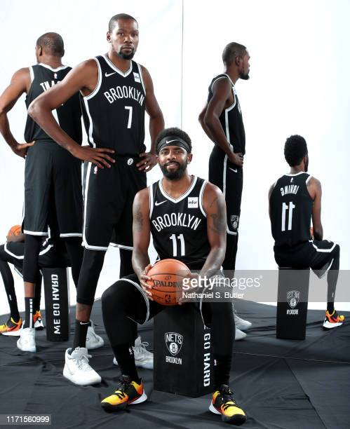 Kevin Durant and Kyrie Irving of the Brooklyn Nets pose for a portrait during media day on September 27 2019 at the HSS Training Center in Brooklyn...