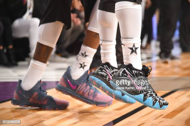 Kevin Durant and Kyrie Irving shoe details warm up during the NBA AllStar Game 2018 at Staples Center on February 18 2018 in Los Angeles California