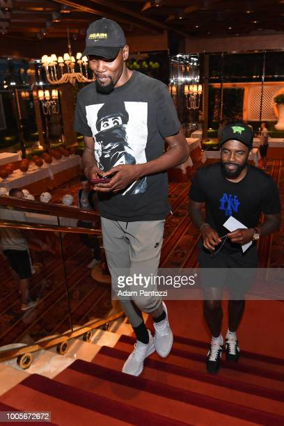 Kevin Durant and Kyrie Irving talk after a team meeting at USAB Minicamp in Las Vegas Nevada at the Wynn Las Vegas on July 25 2018 NOTE TO USER User...