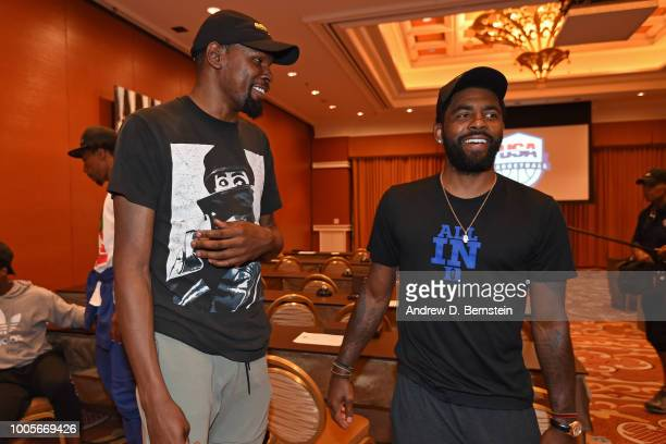 Kevin Durant and Kyrie Irving talk during a team meeting at USAB Minicamp in Las Vegas Nevada at the Wynn Las Vegas on July 25 2018 NOTE TO USER User...