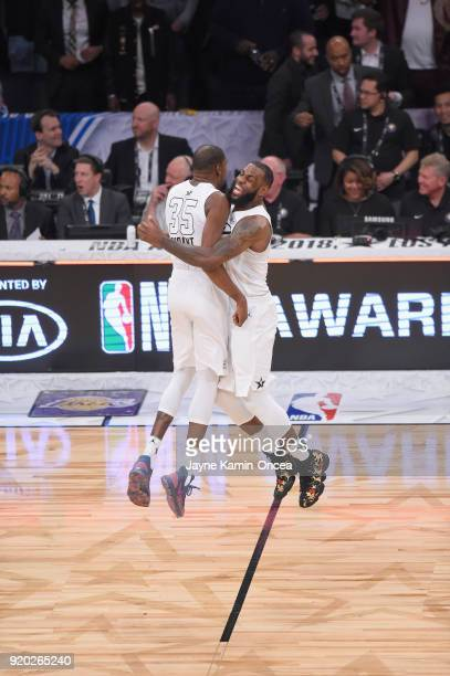 Kevin Durant and LeBron James of Team LeBron celebrate during the NBA AllStar Game 2018 at Staples Center on February 18 2018 in Los Angeles...