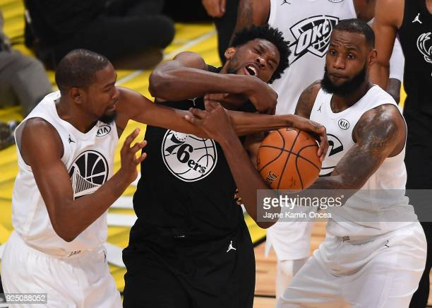 Kevin Durant and LeBron James of Team LeBron guard DeMar DeRozan of Team Stephen during the fourth quarter of NBA AllStar Game 2018 at Staples Center...