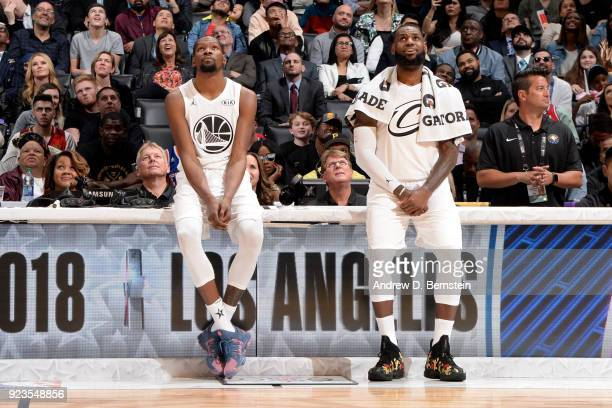 Kevin Durant and LeBron James of team LeBron look on during the NBA AllStar Game as a part of 2018 NBA AllStar Weekend at STAPLES Center on February...