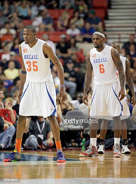 Kevin Durant and LeBron James of Team White prepare to defend during the USFleet Tracking Basketball Invitational October 23 2011 at the Cox...
