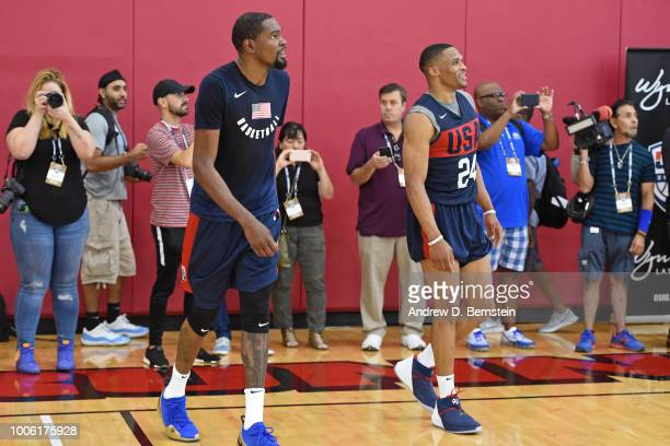 Kevin Durant and Russell Westbrook look on during USAB Minicamp Practice at Mendenhall Center on the University of Nevada Las Vegas campus on July 26...