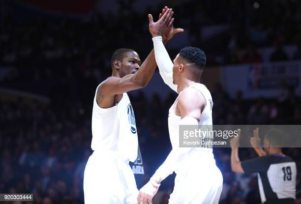 Kevin Durant and Russell Westbrook of Team LeBron high five during the NBA AllStar Game 2018 at Staples Center on February 18 2018 in Los Angeles...