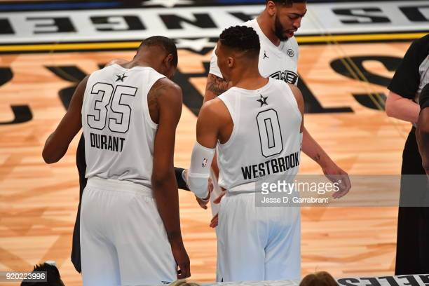 Kevin Durant and Russell Westbrook of Team LeBron look on against Team Curry during the NBA AllStar Game as a part of 2018 NBA AllStar Weekend at...
