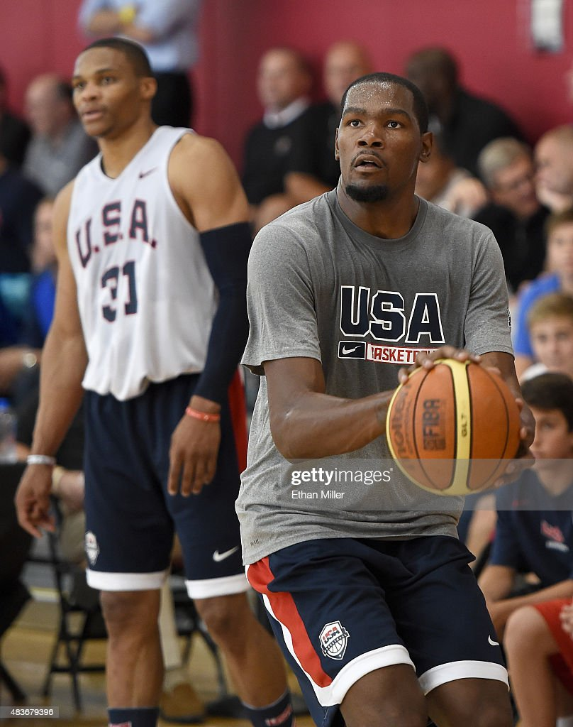 Kevin Durant #29 and Russell Westbrook #31 of the 2015 USA Basketball Men's National Team attend a practice session at the Mendenhall Center on August 11, 2015 in Las Vegas, Nevada.